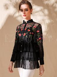 embroidered blouses black silk flower embroidered blouse ezpopsy com