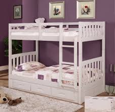 scenic brown wooden bunk beds using white bed linen and pillowcase