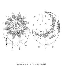 vector ornate vintage moon sun stock vector 551690053