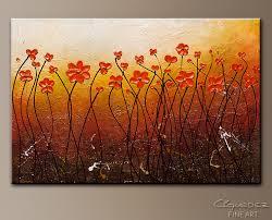 wall art landscape and flowers art fall season canvas abstract art