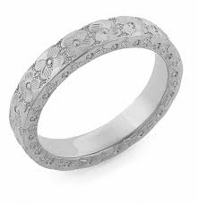 Flower Wedding Ring by Hand Carved Flower Wedding Ring 14k White Gold