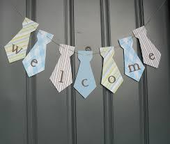 little man necktie banner welcome birthday party baby shower