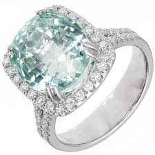 green diamonds rings images Natural mint green tourmaline diamond halo white gold ring at 1stdibs jpeg