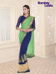 half and half pista green and royal blue saree with silk thread