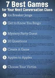poster 7 best games for your next conversation class teacher