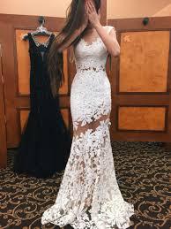 white mermaid lace mesh prom dress for teen 2017 formal dresses