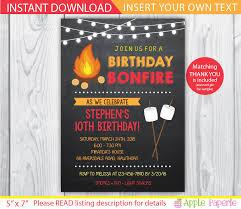 bonfire birthday party invitations stephenanuno com
