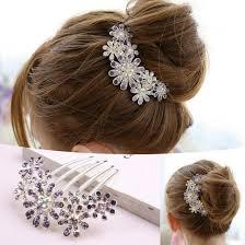New Women Beautiful Crystal Decorate Petal Tuck Hair b Flower