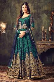 soothing georgette fabric party wear anarkali dress in blue color