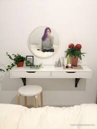 Makeup Vanity Table With Lights Ikea Hack Ekby Alex Shelf With Kolja Mirror And Dioder Lights