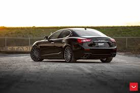 black maserati cars black maserati ghibli looking fly on custom polished silver wheels