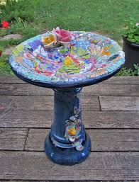 Bird Table L Melissas Motifs Pique Assiette Garden Mosaic Bird Bath Pre