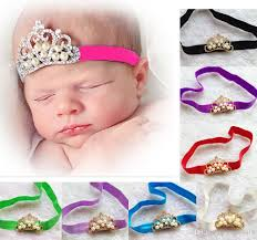 thin headbands 2015 fashion baby girl crown headband elastic thin straps pearl