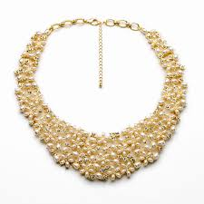 gold new designs necklace images Famous brand latest design gold crystal pearl necklace costume jpg