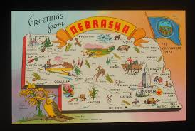 Ne Map 1960s Postcard State Map Of Nebraska Landmarks Icons Meadow Lark