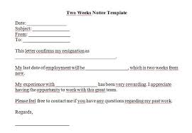 2 week resignation letter resignation letter 2 week notice pdf