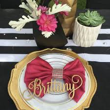 guest table setting name place card laser cut names bridal