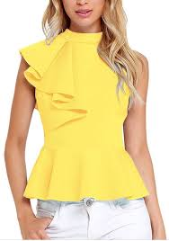 sleeveless blouses yellow plain ruffle pleated zipper band collar sleeveless blouse