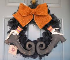 burlap halloween wreath with primitive witch boots pair