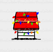 snoopy dog house christmas snoopy doghouse with christmas lights svg dxf eps png digital