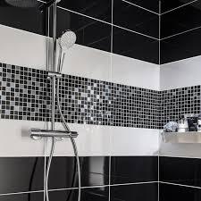 carrelage cuisine noir brillant faïence mur noir noir n 0 loft brillant l 20 x l 50 2 cm leroy merlin
