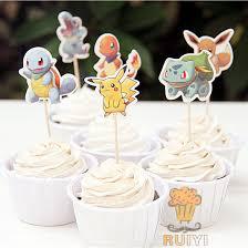 72pcs Cartoon Anime Pokemon Go Pikachu Candy Bar Cupcake Toppers