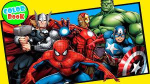 spiderman coloring book incredible hulk captain america