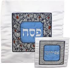 matzah cover and afikomen bag set blue silver floral designed matzah cover afikomen bag set