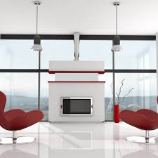 Minimalist Rooms Decorating Minimalist Living Room With Red Formal Chairs Plus View