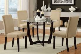 Round Espresso Dining Table F2348 5 Pcs Glass Top Round Dining Table Hazelnut Chair Set