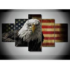 5 pieces american flag eagle wall art picture modern home
