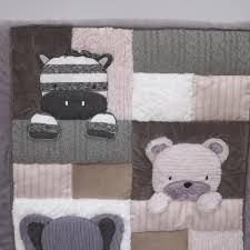 Grey Nursery Bedding Set by Nojo Play Day Pals Cream And Grey 4 Piece Crib Bedding Set Toys