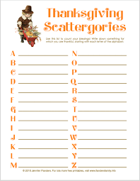 thanksgiving scattergories count your blessings