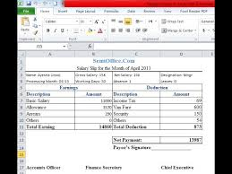 payslip format in excel sheet youtube