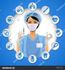 nurse round frame medical care stock vector 601370018