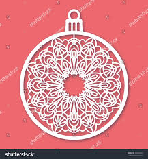 christmas ball snowflake laser cutting template stock vector