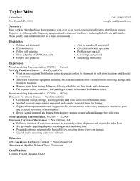 Resume Job Description For Forklift Operator by Best Merchandising Representative Resume Example Livecareer