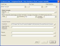 Assignment Form Visual Transport Modeller