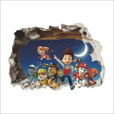 paw patrol snow slide background removable wall stickers bedroom