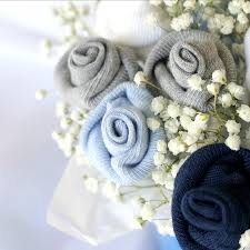 Baby Sock Corsage Baby Socks Rose Bud Flower Bouquet Grateful Prayer Thankful Heart