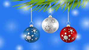 christmas ornaments with snow background blue silver loopable