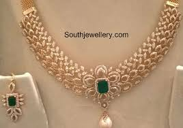 picture diamond necklace images Diamond necklace set jewellery designs jpg