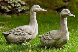 beautiful copper duck garden ornaments on the grass yard the