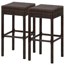 resin wicker bar stools best choice products outdoor furniture set of 2 wicker backless bar st