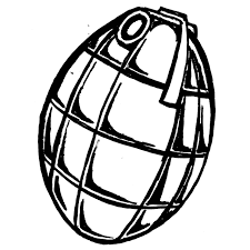 printable army grenade coloring page for boys