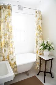 grey and yellow fabric floral shower curtains for white tub with