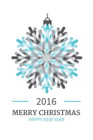 merry 2016 card with snowflake stock vector illustration