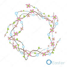 easter wreath frame for congratulations consisting of