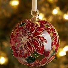 cloisonne poinsettia ball ornament red pier 1 imports