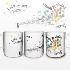 happy birthday design for mug personalised mug with a balloon design on